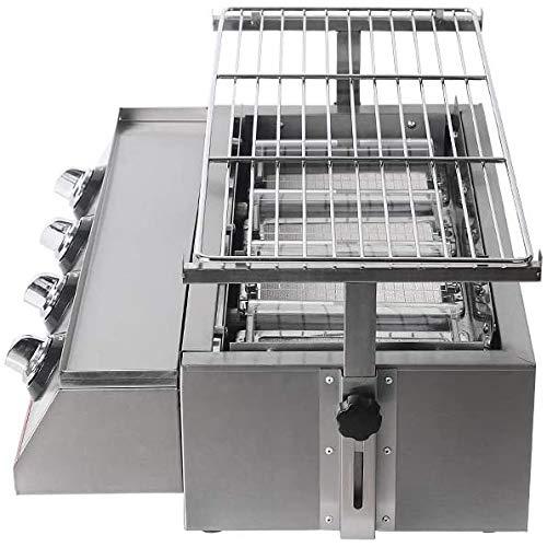51t+A7+R7aL - NOBRAND Gasgrill 4 Brenner tragbar umweltfreundlich Outdoor Picknick verstellbar Grillrost Edelstahl Tischmaschine Zubehör