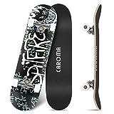 Skateboard para Principiante,79cm×20cm Completo Patineta,9 Capa Monopatín Madera Arce Tabla Double Kick Concave Standard Trick Cruiser Skateboards,para Niña Niño Adulto Adolescentes (6-White Letters)