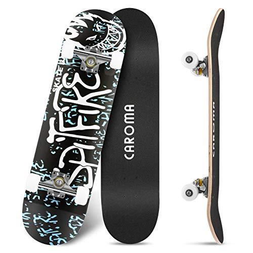 Skateboard per Principianti,79cm×20cm Completo Skate Boards,9 Strati Acero Deck Double Kick Concave Standard Trick Cruiser Skateboards,per Ragazza Ragazzo Adolescenti Adulto Bambino (6-White Letters)