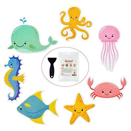 Rutschfeste Badewannen-Aufkleber, 14 Stück, groß, meeresklebend, für Kinder und Dusche, mit hochwertigem Schaber
