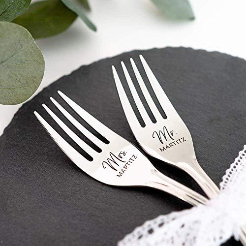 Hochzeits-Gabeln mit Namen & Datum | Gravur | Hochzeitsgeschenk, Hochzeitstorte