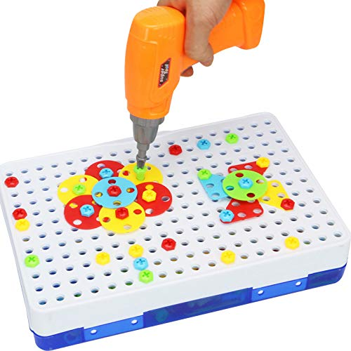 SST Children's Electric Drill Assembling Building Blocks screwing Screw Tool Box nut Combination disassembly Puzzle toy-251CPS (237) 3D + Flat Chinese Version Plus Ordinary Battery and Battery Cover