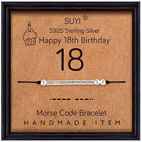 Suyi Regalos De Cumpleaños Número 18 para Niñas Pulsera Código Morse Pulsera De Plata Esterlina Joyas De Cumpleaños 18 Años Regalos para Ella 18