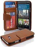 Cadorabo Hülle für HTC ONE (M9) - Hülle in Cognac BRAUN – Handyhülle mit 3 Kartenfächern - Hülle Cover Schutzhülle Etui Tasche Book Klapp Style