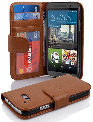 Cadorabo Hülle für HTC ONE M9 in Cognac BRAUN – Handyhülle mit Magnetverschluss & 3 Kartenfächern – Hülle Cover Schutzhülle Etui Tasche Book Klapp Style