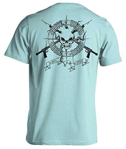 Spearfishing/Scuba Diving T-Shirt: Skull & Spearguns: Freedive | Dive | Spearfish - Lt Blue - S