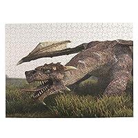 3d ドラゴン 500ピース ジグソーパズル ピクチュアパズル 木製の風景パズル、人物 動物 風景 漫画絵のパズル 大人の子供のおもちゃ家の装飾風景パズル Puzzle 52.2x38.5cm