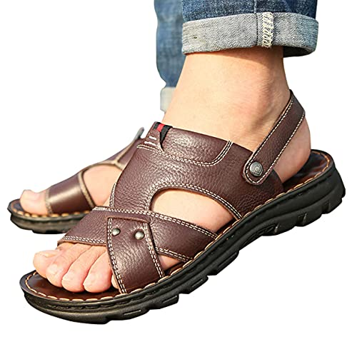 MARLU Mens Leather Sandals Massage Function Outdoor Hiking Sandals Waterproof Athletic Sports Sandals Fisherman Beach Shoes Open Toe Water Walking Sandals, Adjustable Ankle Strap Shoes Gift,Brown,42