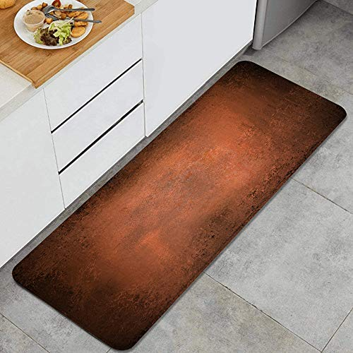 FOURFOOL Standing Mat Kitchen Rug,Paint Hammered Abstract Orange Brown Vintage Aged Copper Burnt Dirty Dark Antique Color Messy,Entry Floor Carpet Door Mat Runner for Laundry,Floor Home,Office,Sink