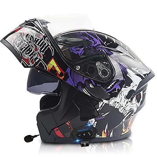 Casco De Moto Modular Doble Visera Cascos Integrales De Moto Casco De Motocross Casco De Moto Modular Casco De Moto Hombre Modular Casco Moto para Mujer e Hombre F,M=57~58cm