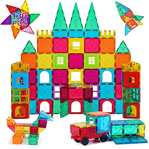 AFUNX Magnet Building Tiles Clear 130 PCS Magnetic 3D Building Blocks Construction Playboards, Creativity Beyond Imagination, Educational STEM Toys for Kids