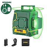 Nivel láser 2x360° verde POPOMAN, 2D líneas láser 45m,para Diseño de Interiores,USB, Batería de litio,Autonivelante, Modo pulsado externo,Soporte Magnético,360° Giro,IP54, Bolsa de transporte-MTM340B