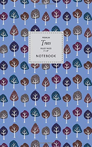 Trees Notebook - Ruled Pages - 5x8 - Premium: (Cerulean Edition) Fun notebook 96 ruled lined pages (5x8 inches   12.7x20.3cm   Junior Legal Pad   Nearly A5)