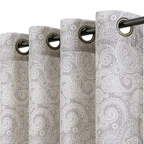 jinchan Linen Textured Curtains for Living Room Gray Paisley Medallion Design Rustic Jacobean Floral Printed Light Filtering Grommet Top Window Treatment Set for Bedroom 2 Panels 84 inch Long Grey
