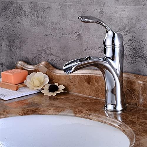 DERUKK-TY Grifo de latón de níquel cepillado grifo de baño negro y cromo lavabo