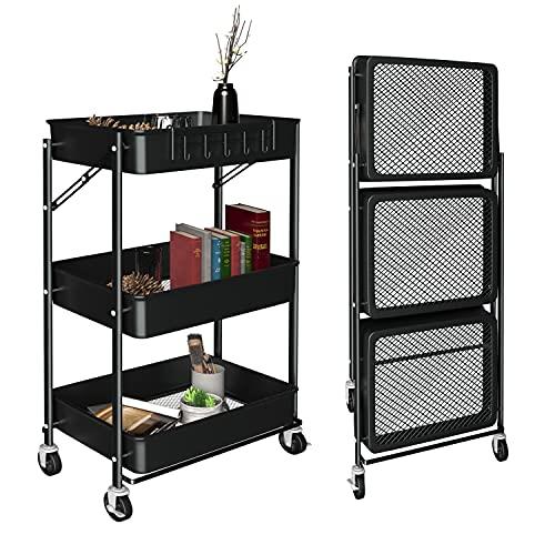 Carrito de 3 niveles con ruedas, organizador de metal plegable con ganchos, carrito de almacenamiento de instalación gratuita, ruedas...