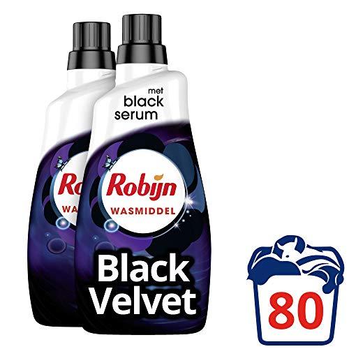 Robijn Wasmiddel Vloeibaar Klein & Krachtig Black Velvet voor de Zwarte Was - 80 wasbeurten - 2 x 1,4L - Grootverpakking