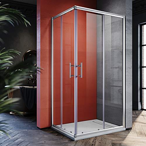 SONNI 100x80cm Eckeinstieg Duschkabine Sicherheitsglas Schiebetür Eckdusche Duschabtrennung Duschschiebetür Glas