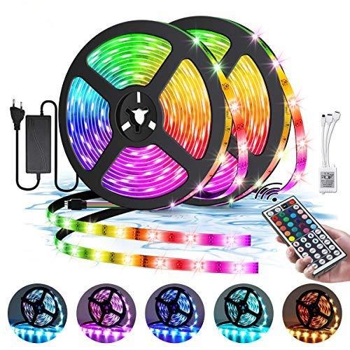 Elfeland LED Streifen 10M RGB LED Strip 300 LEDs 5050SMD LED Band Lichterkette Bänder Hintergrundbeleuchtung mit 44 Tasten Fernbedienung IP65 Wasserdicht Selbstklebend außen Beleuchtung Full Kit