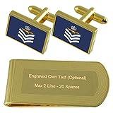 RAF Airforce insignias de rango de Sargento de vuelo de las tripulaciones de tono Oro gemelos Money Clip grabado Set de regalo