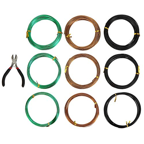 Hedume 9 Roll Wire Kit, 3 Size Bonsai Tree Wire Anodized Aluminum Bonsai Training Wire with Cutter for Bonzai Trees Indoor (1.0 mm, 1.5 mm, 2.0 mm) 295' Total