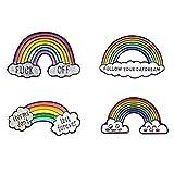 Amosfun 4 broches esmaltados de arcoíris para el pecho, nube, caricatura, para uso diario, bailes de graduación, bodas, aniversarios, cumpleaños, etc.