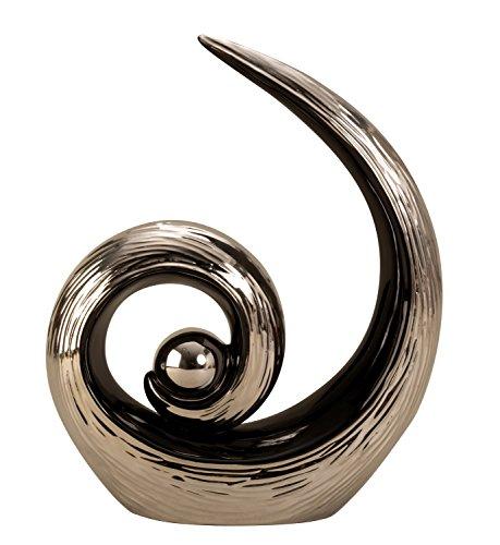 Lifestyle & More Moderno Escultura Decorativa de cerámica en Negro/Plata Altura 28...
