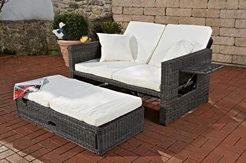 CLP Polyrattan 2er Loungesofa Ancona I Flachrattan Garten-Sofa mit ausziehbarem Fußteil und Verstellbarer Rückenlehne Rattan Farbe grau-meliert, Stärke 3 mm, Bezugfarbe: Cremeweiß