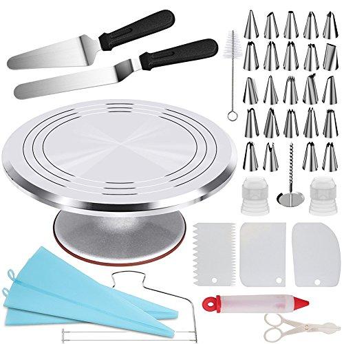 Aleación de Aluminio Decoración de Pasteles 12 pulgadas, Abimars Juego de accesorios para decoración de tartas,giratorios, con espátula de glaseado en ángulo, para nivelar tartas, peinetes, glaseado