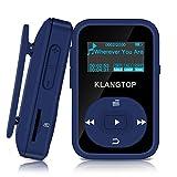 [Radio FM Via Bluetooth] KLANGTOP Mini Lecteur MP3 Sportif Bluetooth 4.0 avec Pince 8G 30 Heures de Lecture Baladeur Sport de Musique Enregistrement FM Walkman Écran Couleur, Bleu