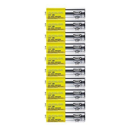 IKEA Alkalisk AA 1,5 V Alkaline Batterien (10 Stück) 20er-Packung multi