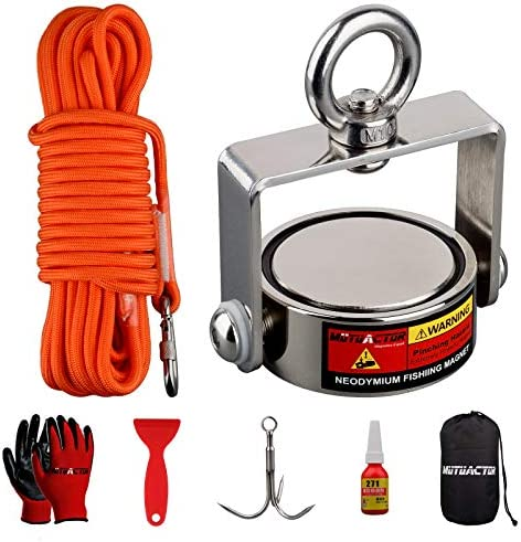 MUTUACTOR Fishing Magnet Double Sides Rotatable Combined 1240lb Magnetic Pull Force Heavy Duty product image