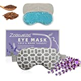 2 in 1 Heated/Ice Eye Mask Moist Heat Eye Mask Lavender & Flaxseed Sinus Pillow Microwavable for Dry Eye,Styes,Sinus Pain,Headache,Migraine,Puffy or Swollen Eyes Irritated and Inflamed Eyelid Bumps