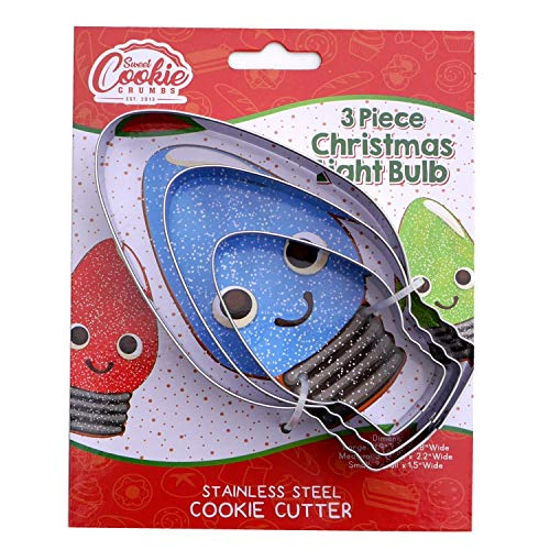 Christmas Light Bulb Cookie Cutter Set, 3 Piece, Stainless Steel