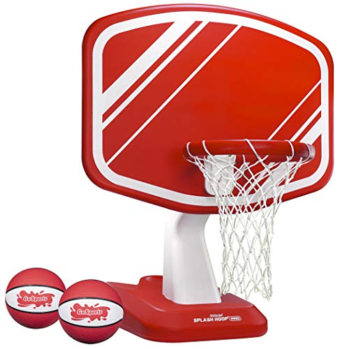 GoSports Splash Hoop PRO Pool Basketball Game, Includes Poolside Water Basketball Hoop, 2 Balls and Pump, Red