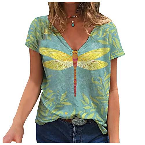 URIBAKY - Camiseta de manga corta para mujer, diseño estampado, cuello en V, talla grande ejército verde XL
