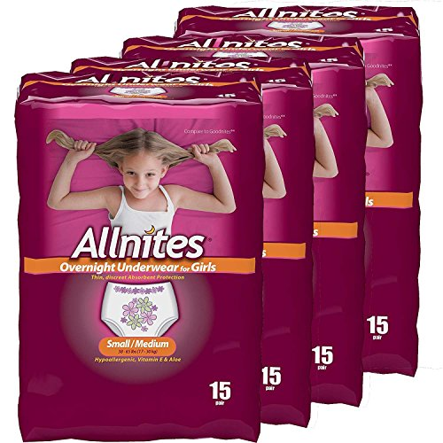 Allnites Overnight Underwear for Girls, Small/Medium, 60 Count