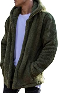 Mens Hoodies Fuzzy Sherpa Fleece Fall Coat Lightweight Warm Jackets with Pockets