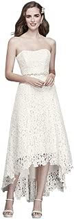 High-Low Tea-Length Corded Lace Wedding Dress Style WG3925
