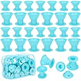 Emoly 40 Pcs Magic Silicone Hair Rollers - Include 20pcs Large Silicone Curlers and 20pcs Small Silicone Curlers,Styling Tool Professional Accessories(Blue)