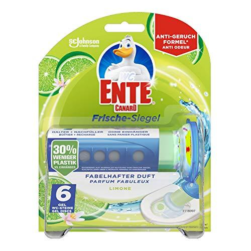 WC-Ente Frische-Siegel Starter-Set (inkl. 1 Nachfüller), körbchenloser WC-Reiniger, Limone Duft, 36 ml