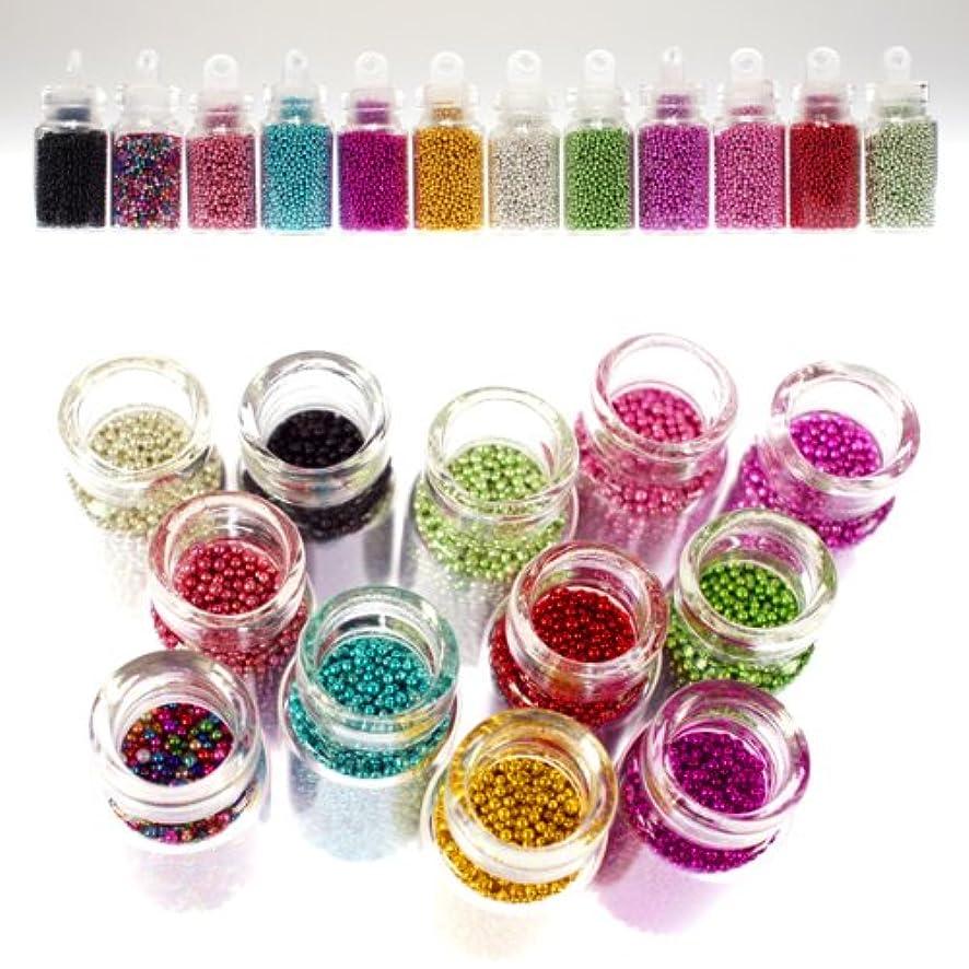 アクセルビーチ吸収剤ブリオン12色セット キャビアネイルに最適 可愛いガラスの小瓶入り ネイルパーツ