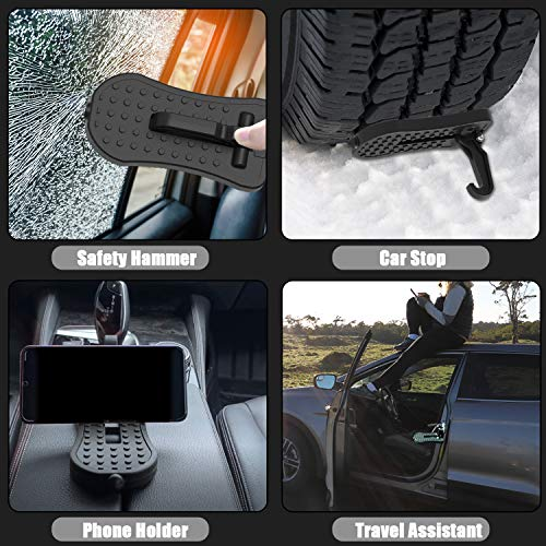 XTAUTO Car Door Step for Car Rooftop Access, Roof Climbing Assist, Multifunction Car Roof Rack Auxiliary Pedal, Safety Hammer, Car Stop, Universal for SUV, RV, Truck, Off-Road Vehicle, Max Load 507lbs