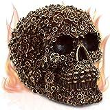 mtb more energy Figure crâne ''Machine Head'' - Or- Décoration tête de Mort Fantastique Fantaisie Horreur