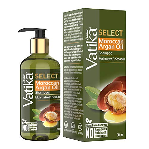 DABUR Vatika Select Moroccan Argan Oil Shampoo|Moisturize & Smooth|No Parabens, Sulphate & Silicones, 300 ml