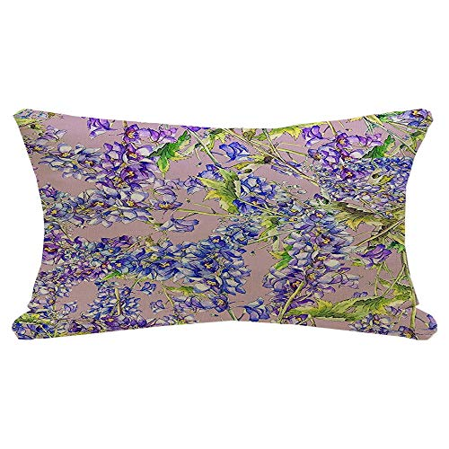 Lumbar Pillow Cover Blue Drawing Delphinium Garland Flowers Seamless Pattern Abstract Foliage Summer Ink Textures Copy Decorative Fall Linen Pillow Case for Couch Bed Car 12x20 Inch