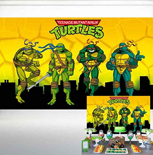 Teenage Mutant Ninja Turtle Backdrop Party Supplies Poster for Kids Birthday Party Banner Baby Shower 5x3ft Photography Background Photo Booth Props HL-28