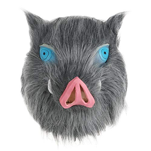 CoolChange Cosplay Wildschwein Maske von Inosuke Hashibira | Latexmaske mit Fell für Kimetsu no Yaiba Fans