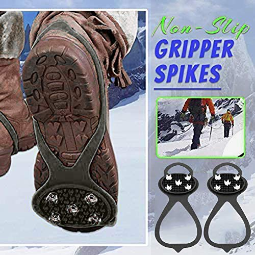 Universal NonSlip Gripper SpikesGrippers Spikes AntiSlip Over ShoeDurable Cleats with Good Elasticity Easy to Pull On or Take OffSuitable for All Type of ShoesPerfect for Winter Sports black