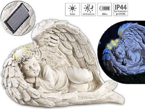 Lunartec LED Engel: Schlafende Solar-LED-Schutzengel-Figur, 16 cm, für innen & außen (Grabengel)